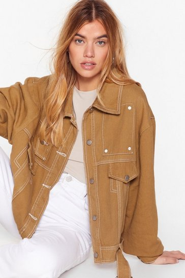 Womens Olive Making the Best of a Bad Stitch-uation Denim Jacket
