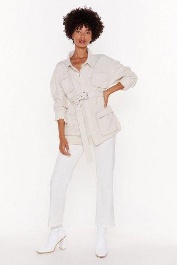 Ecru Belted Denim Jacket with Zip Pockets at Front