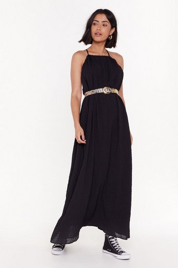 Womens Black Nothing Holdin' Me Back Strappy Maxi Dress