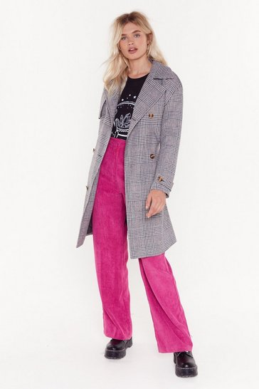 Grey Check on It Longline Belted Trench Coat