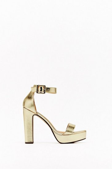 Womens Gold Higher Ground Metallic Platform Heels