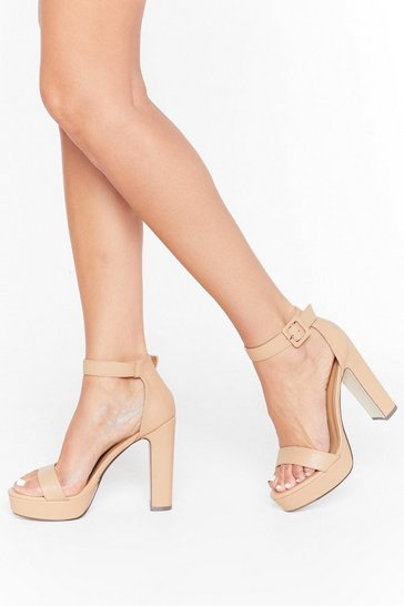 Womens Nude Higher Ground Faux Leather Platform Heels