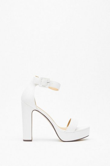 White Higher Ground Faux Leather Platform Heels