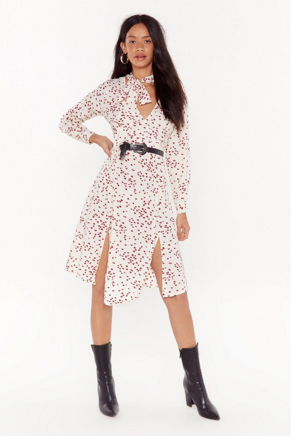 Calling All Hearts Button Down Midi Dress by Nasty Gal