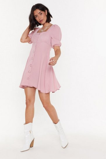 Womens Blush Ready-to-Square Puff Sleeve Mini Dress