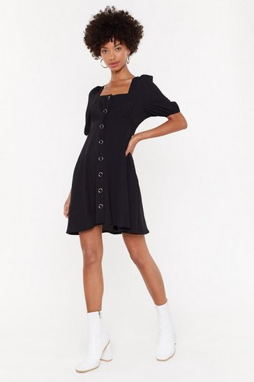 Womens Black Ready-to-Square Puff Sleeve Mini Dress