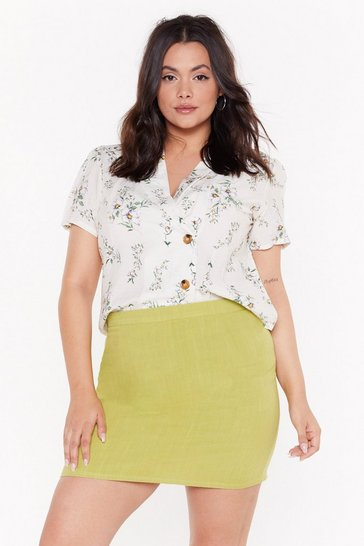 Lime Plus A line Linen Mini Skirt