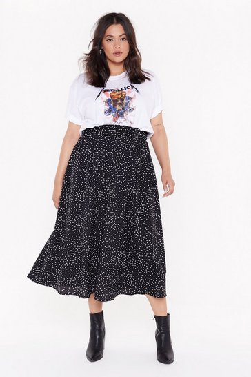 Black Plus Size Polka Dot Midi Skirt