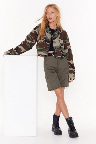Khaki Nasty Gal Vintage Cargo Away Shorts
