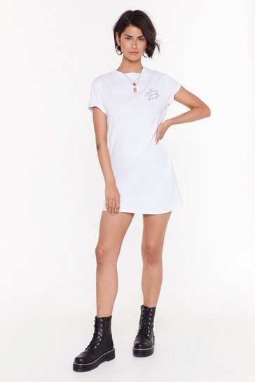 Womens White You Nasty Gal Graphic Tee Dress