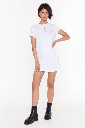 White You Nasty Gal Graphic Tee Dress