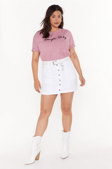 Womens White You Can't Bring Me Button-Down Plus Denim Skirt