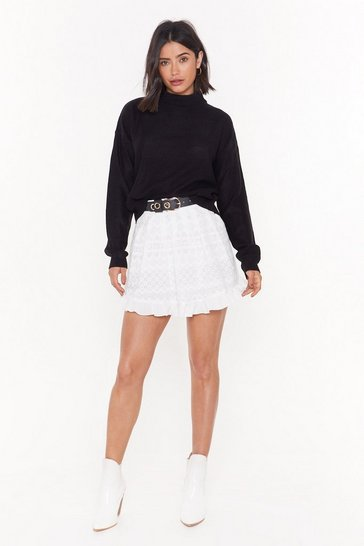 Womens White Brodiere Skater Co-ord Skirt