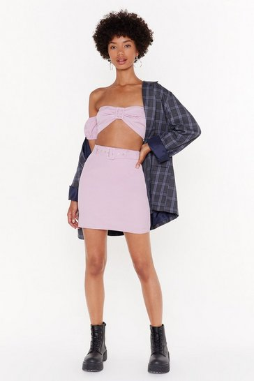 Womens Pink Buckle It High-Waisted Mini Skirt