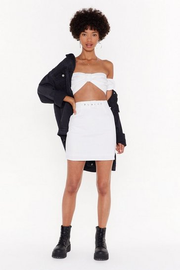 Womens White Buckle It High-Waisted Mini Skirt