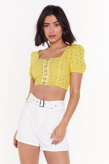 Womens Yellow Hook After Yourself Broderie Anglaise Crop Top