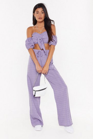 Womens Lilac Flower of My Heart Floral Crop Top and Pants Set
