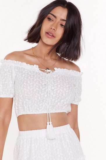 Womens White Brodiere Puff Sleeve Co-ord Crop Top