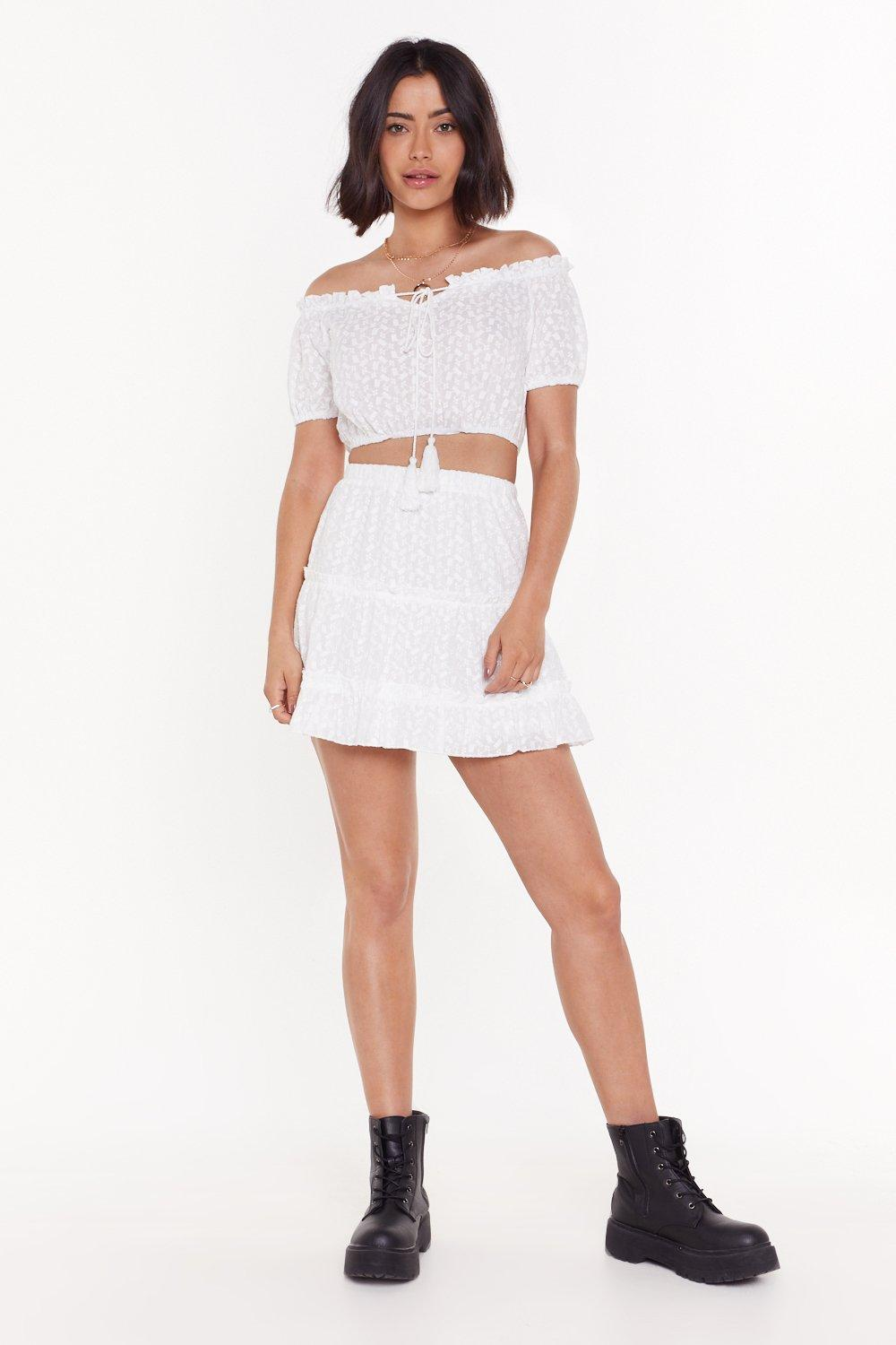 Broderie Ruffle Mini Skirt Co Ord by Nasty Gal