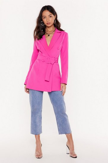 Womens Pink Work It Belted Double Breasted Blazer