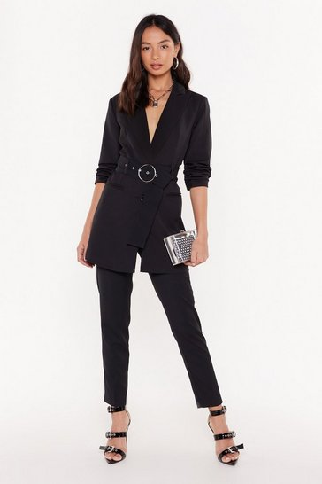 Womens Black Tailor on Through High-Waisted Pants