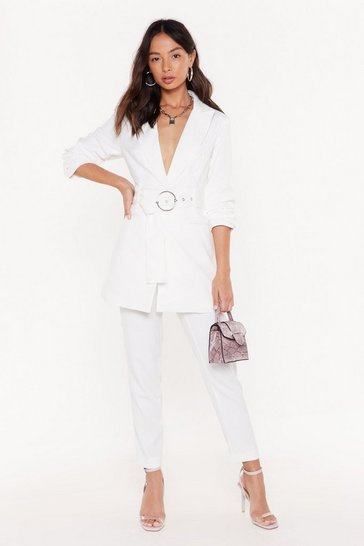 Womens White Tailor on Through High-Waisted Pants