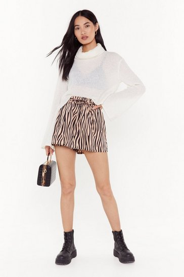 Womens Mauve Welcome to the Jungle Zebra Shorts