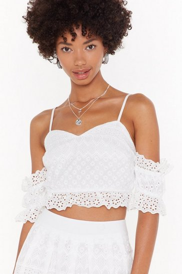 Womens White Broderie Lace Up Co-ord Top