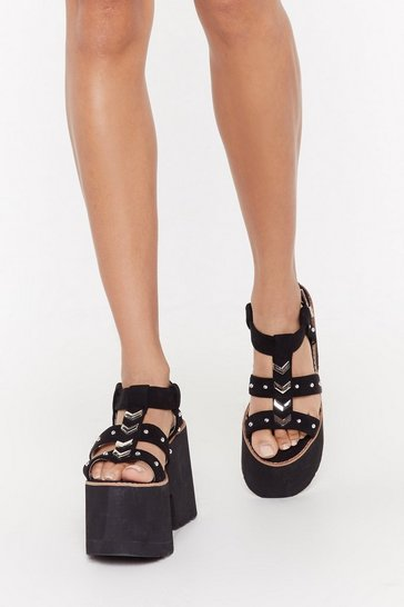 Womens Black Studded Chevron Immi Suede Chunky Sandal