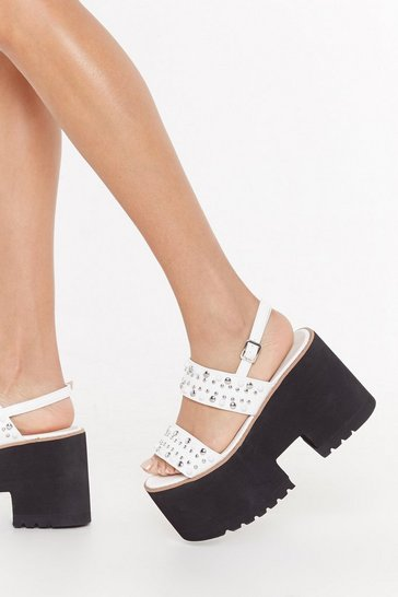 Womens White Studded 2 Part Chunky Sandals