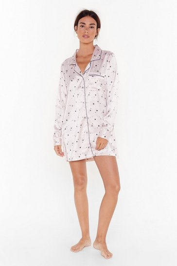 Womens Stone Star-t Over Satin Longline Pajama Shirt