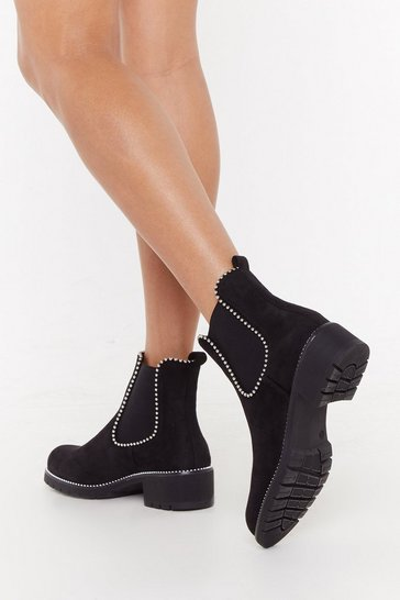 Womens Black See You There Cleated Chesea Boots