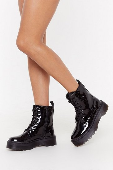 Womens Black Back On Your Feet Chunky Patent Boots