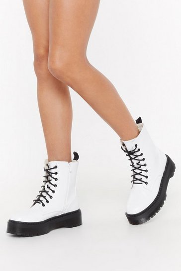 Womens White Back On Your Feet Chunky Patent Boots