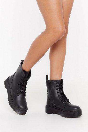 Womens Black Back On Your Feet Faux Leather Boots