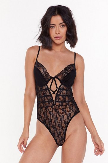 Womens Black You Can Look Lace Strappy Bodysuit