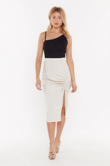 Womens Beige A Little Slit of Heaven Ruched Midi Skirt
