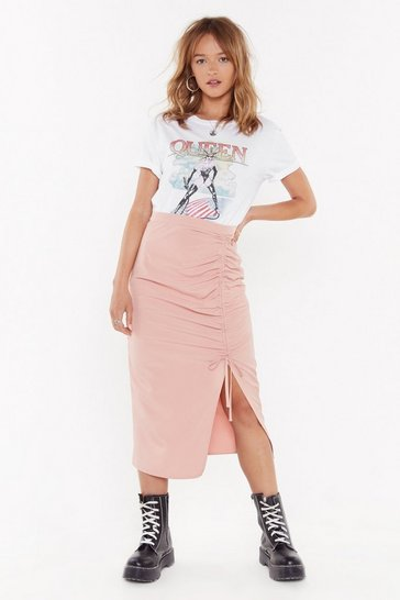 Blush A Little Slit of Heaven Ruched Midi Skirt