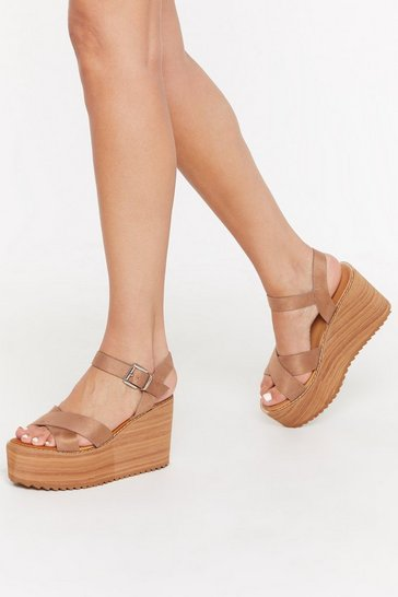 Womens Camel Living on the Wedge Faux Suede Wedges