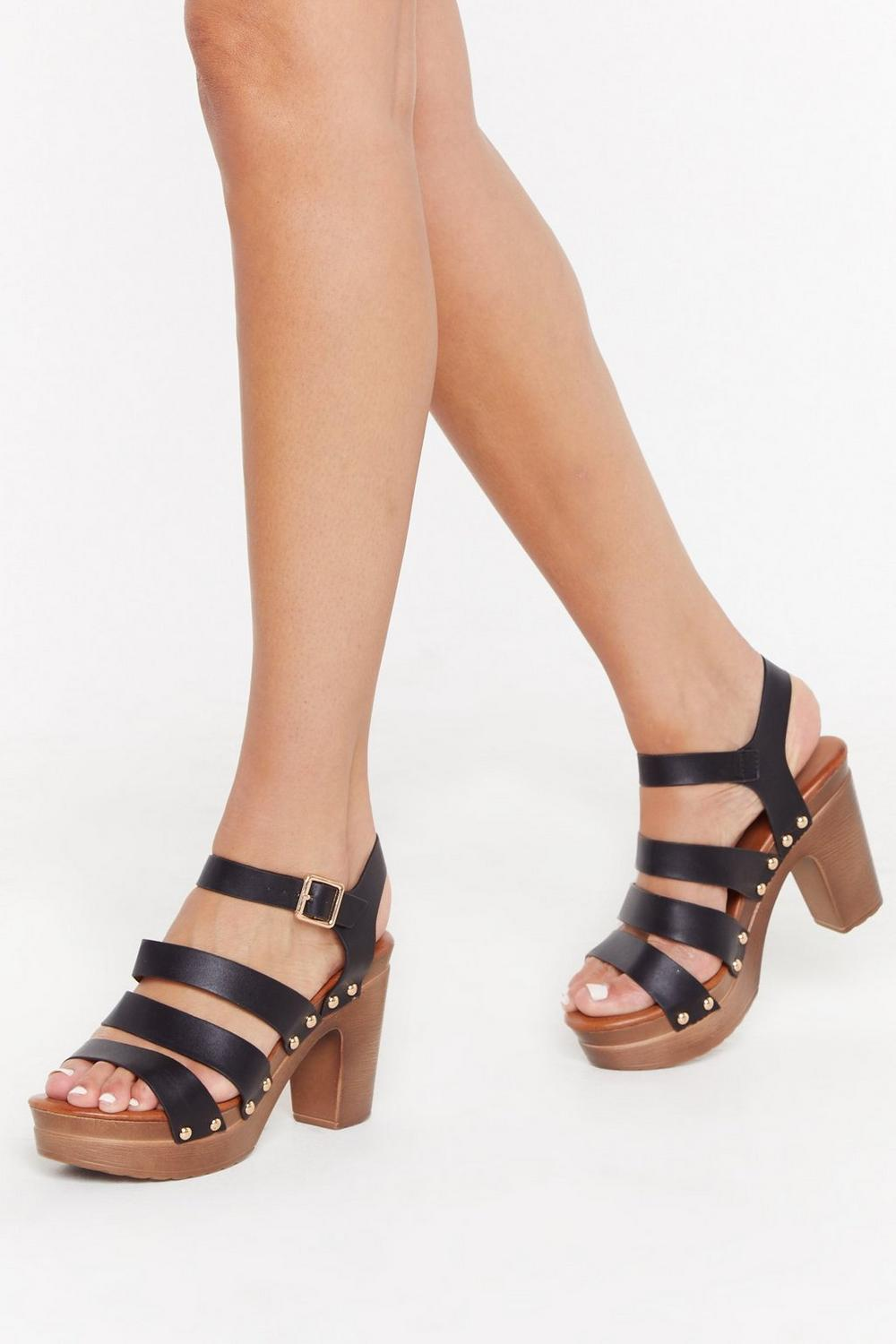 Never Had It So Wood Strappy Sandal by Nasty Gal