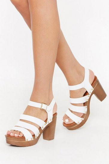 Womens White Never Had It So Wood Strappy Sandal