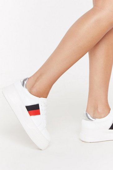 Womens White Side Stripe Flatform Trainers