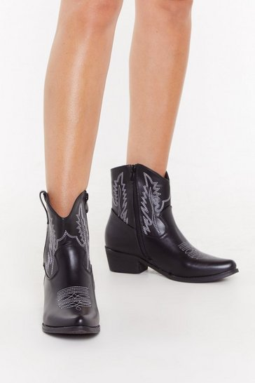 Womens Black Contrast Stitch Western Boot