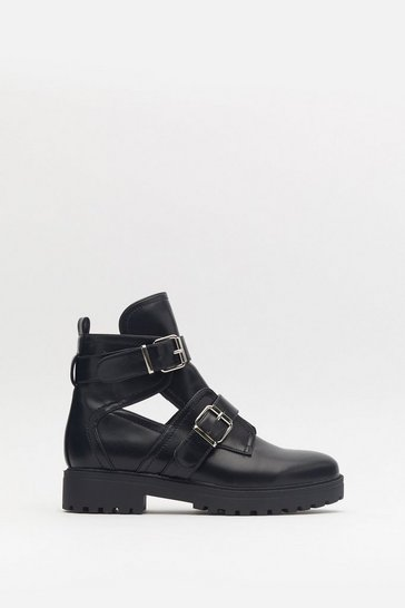 Womens Black Double Buckle Cut Out Biker Boot