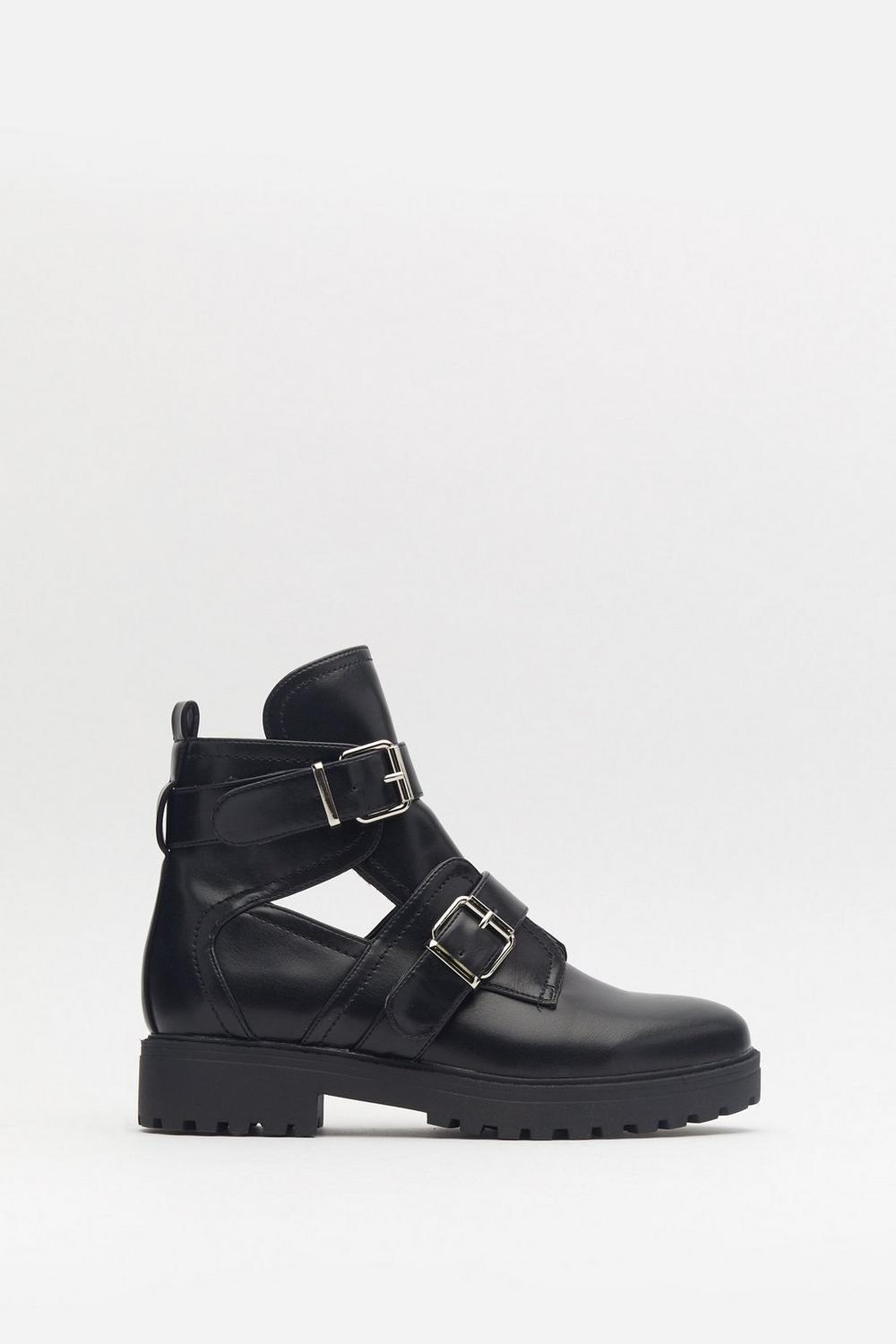 Double Buckle Cut Out Biker Boot by Nasty Gal