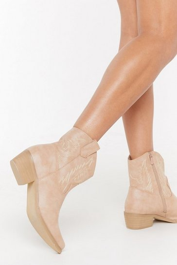 Womens Camel Tonal Stitch Western Boot