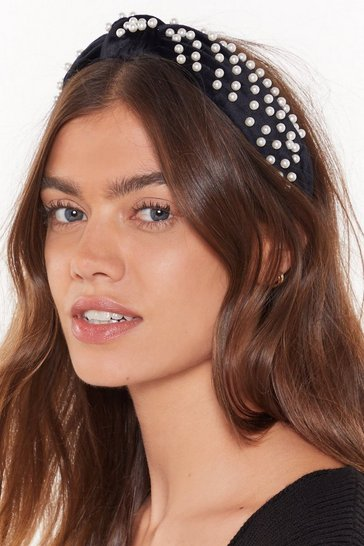 Womens Black Pearls Like You Embellished Velvet Headband