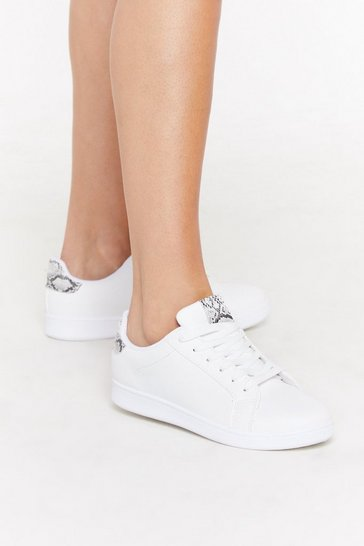 Womens White Nobody Wants Snake Love Lace-Up Trainers