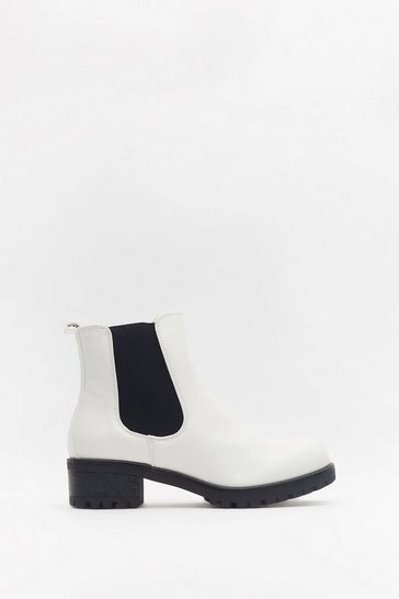 Womens White Don't Walk Away Faux Leather Cleated Chelsea Boots
