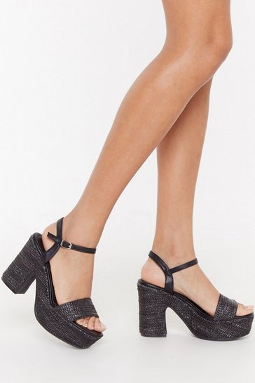 Womens Black Notch Quite Yours Woven Platform Heels